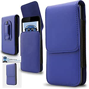 Blue PREMIUM PU Leather Vertical Executive Side Pouch Case Cover Holster with Belt Loop Clip and Magnetic Closure for Huawei Ascend Y520