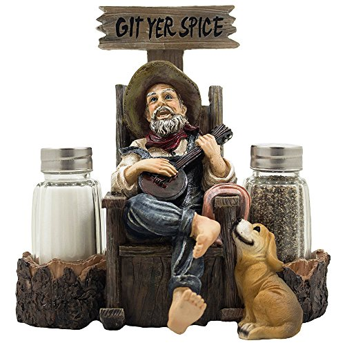 Old Fashioned Hillbilly Playing Banjo to Dog Salt and Pepper Shaker Set with Figurine Display Stand in Vintage Mountain Country Kitchen Decor As Decorative Table Centerpieces or Classic Decorations & Gifts