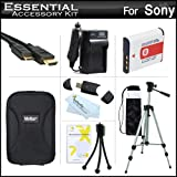 "Essential Accessories Kit For Sony Cyber-shot DSC-HX30V, DSC-HX20V Digital Camera Includes Extended Replacement (1350 maH) NP-BG1 Battery + AC/DC Travel Charger + Mini HDMI Cable + USB 2.0 Card Reader + Case + 50"" Tripod w/Case + More"