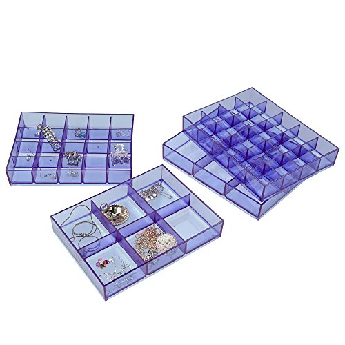 Kekow Stackable Jewelry Display Trays, Set of 4, Clear/purple (Jewelry Organizer Plastic Tray compare prices)