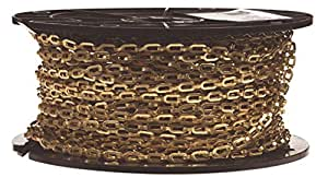 "Campbell 0723817 Brass Plumbers Chain on Reel, Bright, 1/0 Trade, 0.02"" Diameter, 200' Length, 35 lbs Load Capacity"