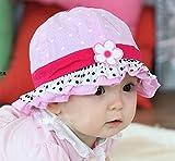 【紫外線からベビーを守る&選べる8色】水玉 可愛い 帽子 つば 付き フリル リボン ドット 花 フラワー フード ベビー キッズ 日焼け 帽子 UV 日よけ (E. ピンク(白黒水玉コンビ)) ランキングお取り寄せ