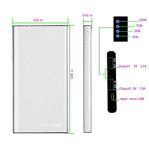 CALIFORNIA CADE ELECTRONIC 8000mAh Leather Power Bank