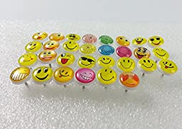 Duoduo888 Retro Smiley Face Push Pins Plastic Head Thumb Tacks Drawing Pin 200 Pcs for School ,Home , and Office Use