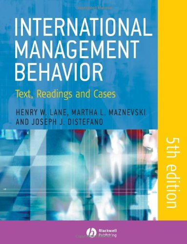 International Management Behavior: Text, Readings And Cases front-886627