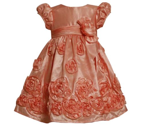 Size-2T Bnj-8347-R Coral Bonaz Rosette Border Taffeta Special Occasion Wedding Flower Girl Party Dress,R28347 Bonnie Jean Toddlers