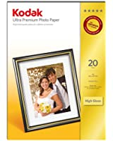 Kodak Lot de 20 feuilles de papier photo Premium haute brillance format A4 210 x 297 mm