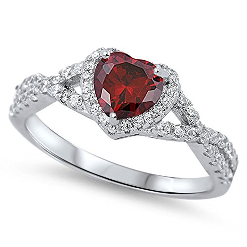 Simulated Garnet Infinity Knot Heart Promise Ring .925 Sterling Silver Band Size 6 (RNG15950-6) (Sterling Silver Garnet Ring compare prices)