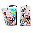 32nd® Designer flip PU leather case cover for Samsung Galaxy S3 Mini (S iii Mini) i8190 + screen protector and cloth - Colour Butterfly