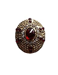 Unicorn Adjustable Red And White Ethnic Fashion Ring In Non-Precious Metal Kundan Polki Ring For Women