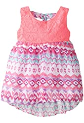 Youngland Baby Girls' Crochet To Aztec Printed Chiffon Fashion Dress