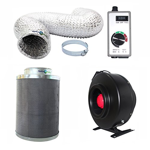 Hydroplanet™ 6-inch Inline Fan Carbon Air Filter and 25-feet Ducting Combo (6-inch) (Carbon Filter Fan Combo 6 Inch compare prices)