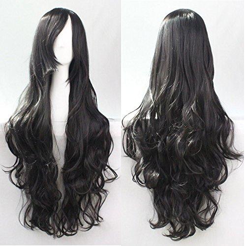 Donne delle ragazze delle signore 80 centimetri neri Colore lunghe parrucche ricce di alta qualità dei capelli Carve Cosplay Anime di Bangs completa sexy Parrucche