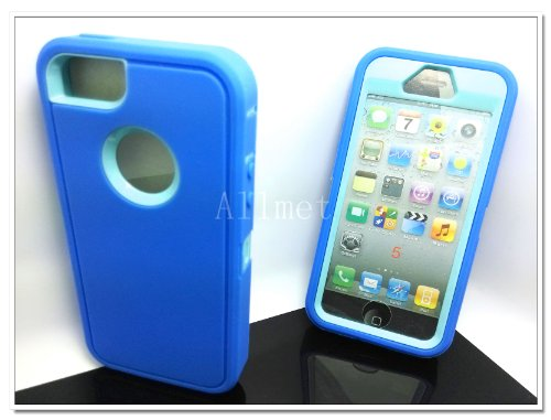 =>>  Multi Color Iphone 5 5S Body Armor Silicone Hybrid Cove Hard Case, Three Layer Silicone PC Case Cover for iPhone 5 5S (Blue+Baby Blue)