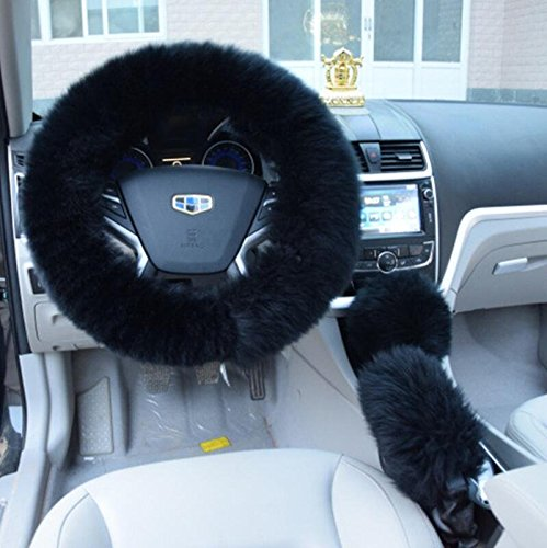 Valleycomfy Winter Warm Australia Pure Wool Handbrake Cover Gear Shift Cover Steering Wheel Cover 14.96