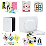 Fujifilm Instax Mini 8 Instant Camera Accessory Bundles Set (Included: White Mini 8 Vintage Case Bag/ White Diamond Style Instax Mini Book Album/ White Rabbit Design Mini 8 Close-Up Lens(Self-Portrait Mirror)/ Colorful Close-Up Lens For Mini 8/ Wall Decor Hanging Frame/ 3 Inch Photo Frame/ Colorful Decor Sticker Borders)