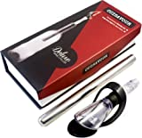 Cuisavour's Signature Wine Chiller Stick with Pourer Gift Set - Stainless Steel Chilling Rod with Revolutionary Gravity Lid and Drip-Free Seal - Quick Chiller Bottle Cork Accessories & Gifts - Premium Icicle Cooler - Iceless Ice Cubes without Refrigerator - Enthusiast Chillstick, Spout & Stopper - 100% Lifetime Guarantee