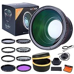 K&F Concept 58MM 0.43x Professional HD Wide Angle Lens (w/ Macro Portion) for CANON Rebel (T5i T4i T3i T3 T2 T2i T1i XT XTi XSi XS SL1), CANON EOS (1100D 700D 650D 600D 550D 500D 450D 400D 350D 300D 100D 60D 7D) + Close Up Filter +2+4+10 + UV Protector Fi