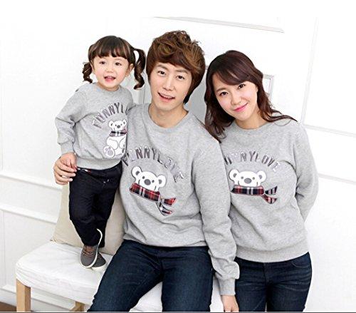 [ニューライフスカイ]子供服 長袖 親子ペア 全家族 子供の服  ベア lbertz0005 (パパ:XL)