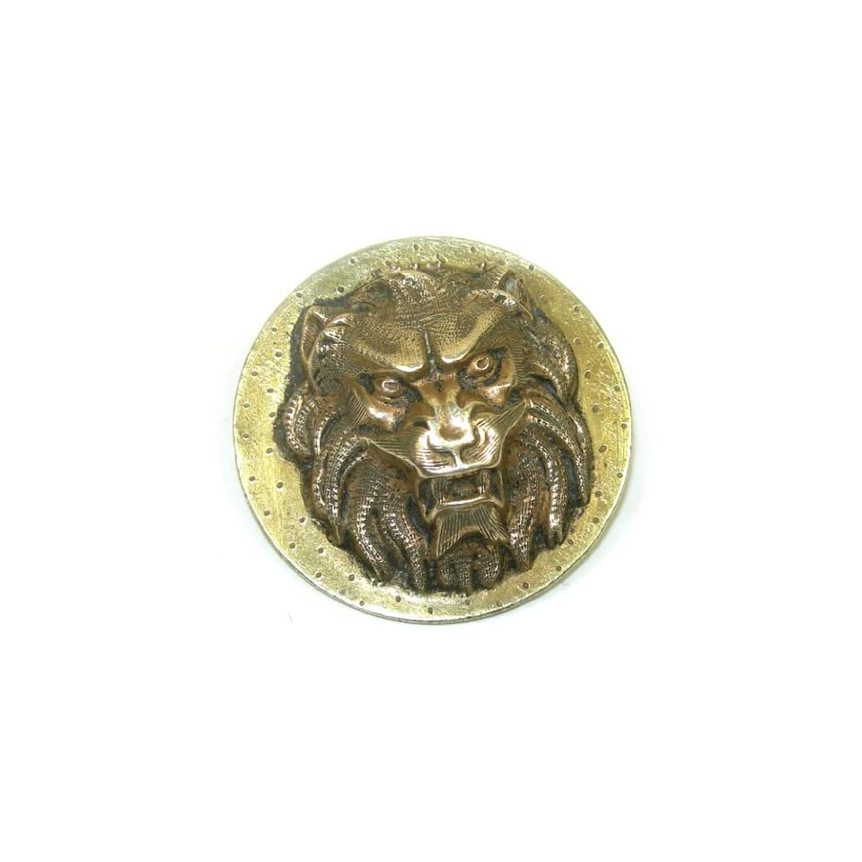 Large Antique Gilt Brass Lion Head Button