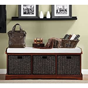 Storage Bench Lift Top Ottoman With Three Large Decorative Baskets Whit