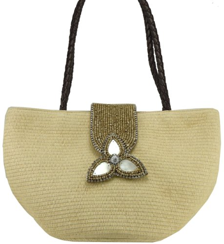 Skemo Ambrosia Women's Straw Shopper Shoulder Handbag (Camel)