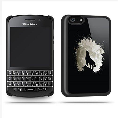 Wolf Moon Paint Splatter Cool Stylish Phone Case Shell For Blackberry Q10 - Black