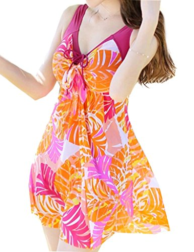 Wantdo Women's Swimsuit Dress Swimwear Beach Suit Soft Cup Plus Size Beach Skirt