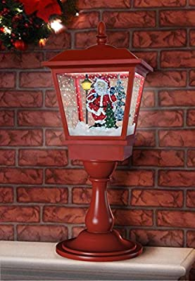 "More Designs! Indoor/Outdoor Snowing Santa Clause Christmas Tree Tabletop Table Lamp Post 25"", Festive Waterproof Decoration with Snowfall & Musical LED Lights by OYE HOYE"