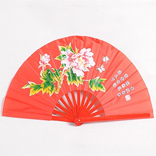 OPACC 15 inch Bamboo Chinese Fan Tai Chi Kung Fu Folding Fan With Paeonia Suffruticosa, Red (Kung Fu Fighting Fan compare prices)