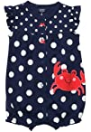 Carters 8220Anything but Crabby Romper Sizes NB  9M  navy