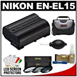 Nikon EN-EL15 Rechargeable Li-ion Battery with (3) 40.5mm (UV/CPL/ND8) Filters + Case + Nikon Cleaning Kit for 1 V1 Interchangeable Lens Digital Camera with 10mm f/2.8, 30-110mm VR & 10-30mm Lens