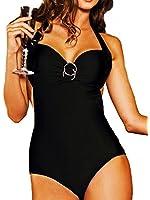 Maillot de bain 1 une pièce femme monokini Noir ou Bleu uni (ce modèle taille petit au niveau de la poitrine)