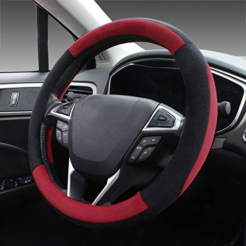SEG Direct Red Plush Winter Auto Car Steering Wheel Cover Universal 15 inch (Steering Wheel For Toyota Corolla compare prices)