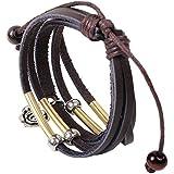 eFuture(TM) Dark Brown Stylish New Style Valentine's Day Gifts Multilayer Roses PU Leather Charm Bracelets +eFuture's nice Keyring