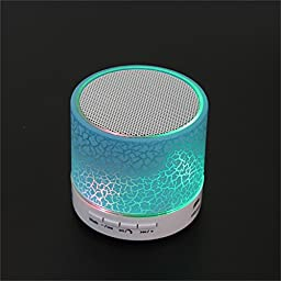 Bluetooth Speaker, Mini Wireless Handsfree Speakerphone with USB2.0 Micro SD Card Slot 3.5mm Audio Built-in Coloured LED Lights Mic Bass Subwoofer for Smartphone and All Bluetooth Player (Blue)