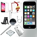 Apple iPod Touch 6th generation Music player, 128GB -GRAY- w/ iTouch Accessory Kit includes; Bluetooth Speaker w Clear Case & Screen Protector w ipod 5-Angle Adjustable Stand w iPod Stylus Pen w Cloth (Color: Space Grey, Tamaño: 128 GB)