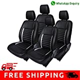 Autofact Brand PU Leatherite Car Seat Covers for Honda Jazz New Model in Black and Silver Strip