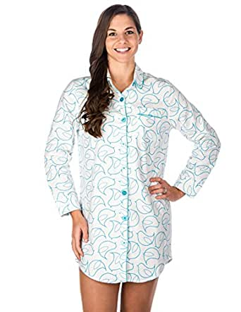 Noble mount womens premium 100 cotton flannel Long cotton sleep shirts
