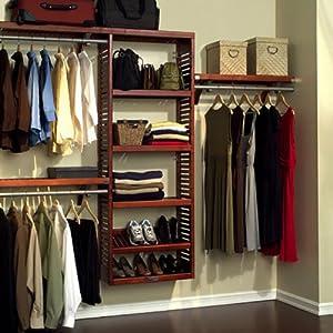 John Louis Home JLH-529 Premier 12-Inch Deep Closet Shelving System, Red Mahogany