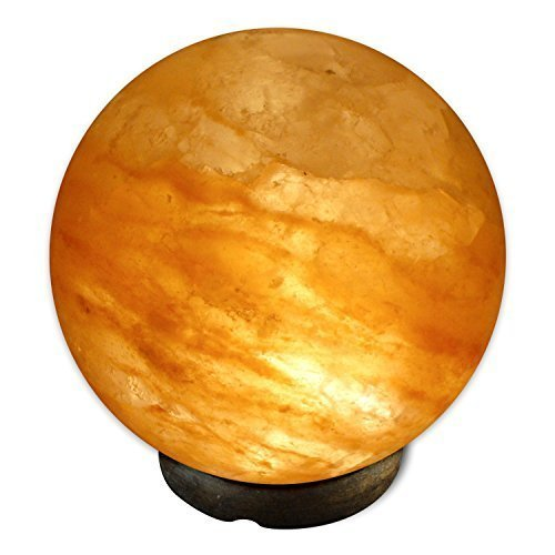 Crystal Allies Gallery: CA SLS-GLOBE-L Natural Himalayan Globe Sphere Salt Lamp Ionic Air Purifier on Wood Base with Cord, Light Bulb & Authentic Crystal Allies Info Card