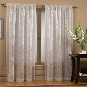 84 Long Hawthorne Sheer Floral Embroidered Curtain Panel 53 X 84 Kitchen Home
