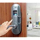 Assa Abloy Digi Weatherproof Electronic Digital Security Fingerprint and Keypad Keyless Door Lock 6600-98 home use (Satin Chrome Left Lever Handle)