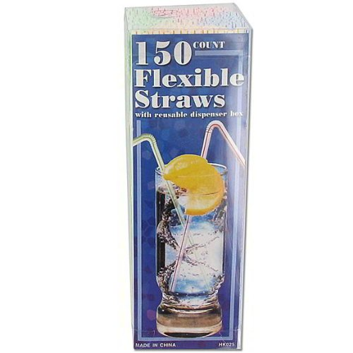 48 Flexible straws with dispenser box