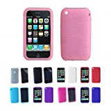 Apple iPhone 3G 3Gs 8GB 16GB 32GB Textured Silicone Skin Case Cover + Free Screen Protector, Pink, One Size