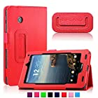 Infiland Folio PU Leather Slim Fit Stand Case Cover for 7inch Verizon Ellipsis 7 4G LTE Tablet,Red