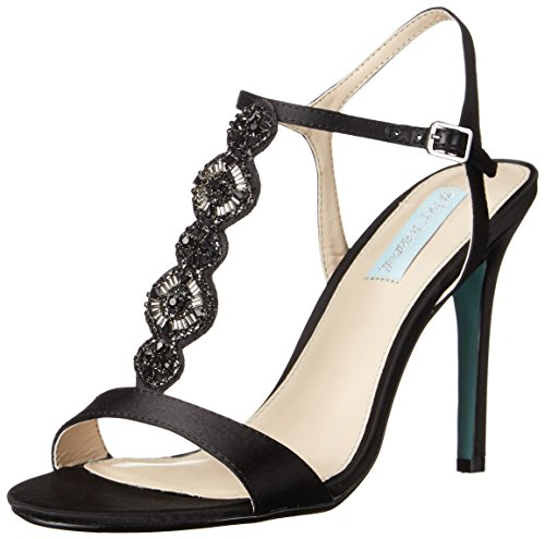 Blue by Betsey Johnson Women's SB-Chloe dress Sandal, Black Satin, 6.5 M US