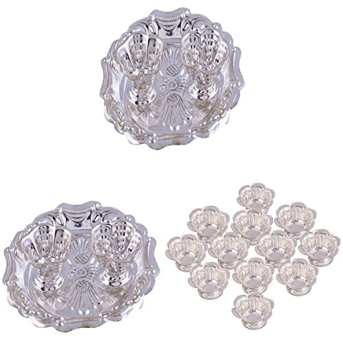 GS MUSEUM Silver Plated Rani Kumkum Plate 2 Sets And Silver Plated Set Of 12 Flower Diyas
