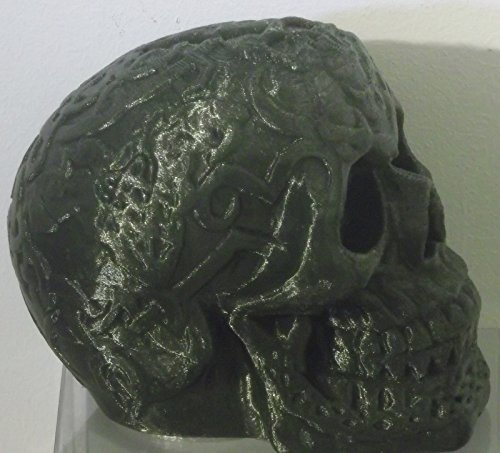 "3d Printed Black Skull Bank with Removable Plug in a Gift Box (5""x 5""x4"") - 1"