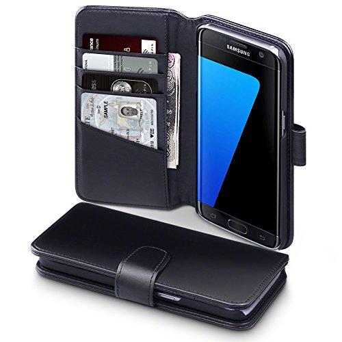 Galaxy S7 Edge Cover, Terrapin di Vera Pelle Della Cassa del Raccoglitore per Samsung Galaxy S7 Edge Custodia Pelle, Colore: Nero